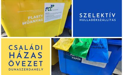 A város szelektív hulladékszállítási harmonogramja a családi házas körzetekben