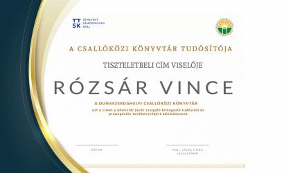 Kollégánk kapta a Dunaszerdahelyi Csallóközi Könyvtár Tudósítója tiszteletbeli címet